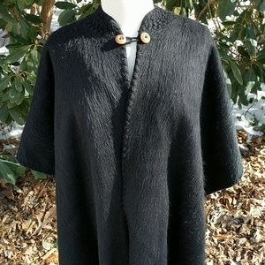 Jackets & Blazers - Black Wool Cape/Poncho